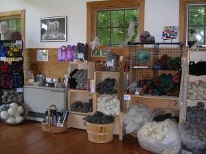 shelves and baskets full of fiber