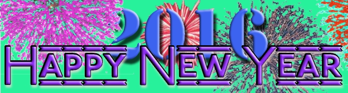 color graphic with fireworks: Happy New Year 2016